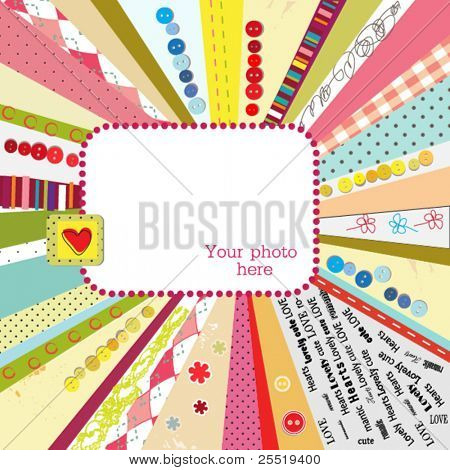 Scrap template design with blank space for your photo or text, vector colorful card
