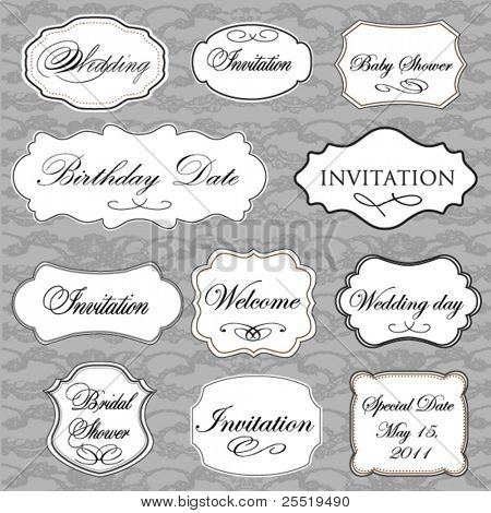Set of vector vintage frames with lace background