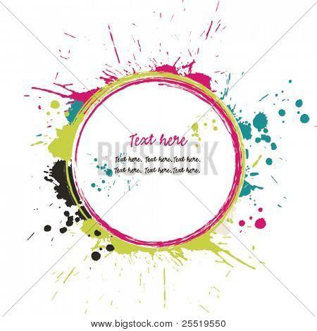 Grunge Kreis mit hellen Tinte Spritzer