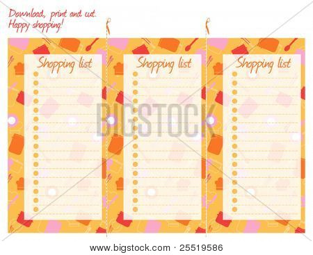 Shopping list, vector. Download, print, cut and go shopping.