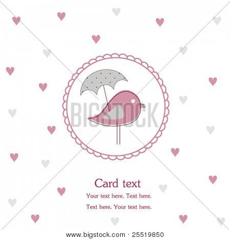 Bird with umbrella, vector card