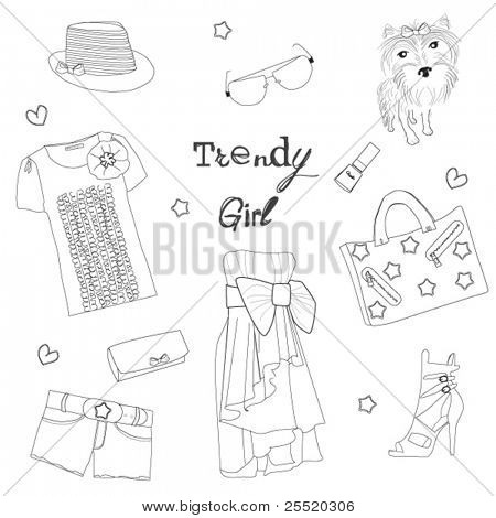 Trendy girl set, stylized doodles