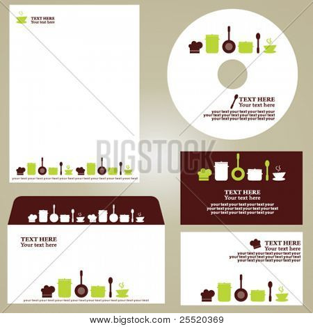 Business template, kitchen/restaurant/cafe set