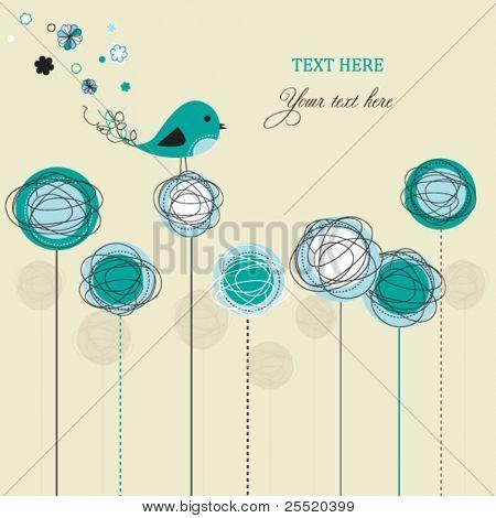 Blue abstract bird card