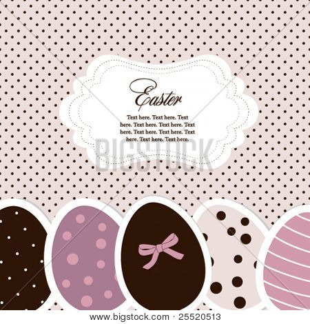 Pink-violet easter eggs card with frame