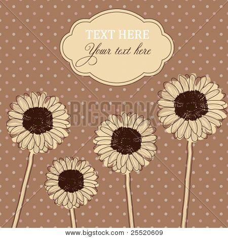 Retro polka dot card with Gerbera, Daisy flowers