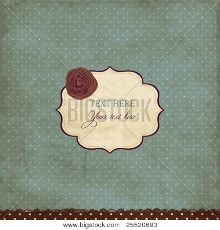 Blue vintage card with rose