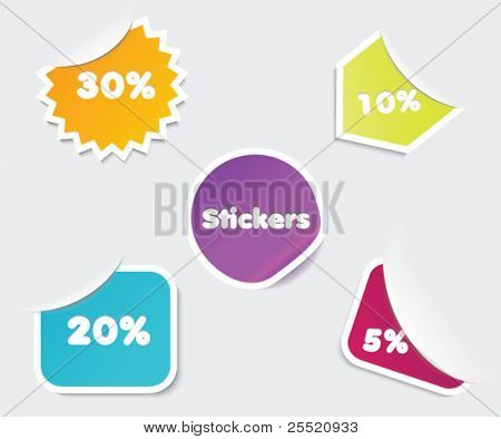 Set of bright stickers, realistic labels