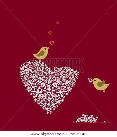 Love birds making their heart nest and singing