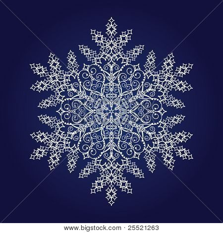 Large detailed snowflake on dark blue background