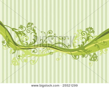 Vector flowers on pin striped background