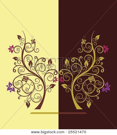 Flowering tree vector illustration