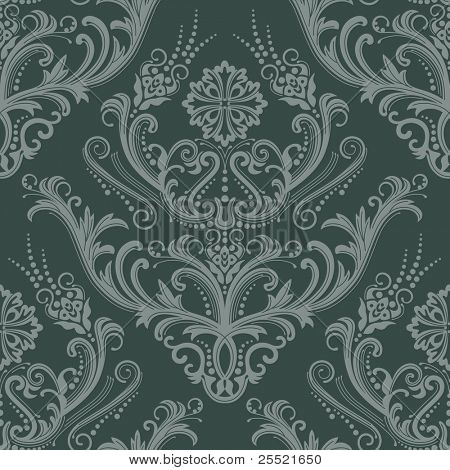 Luxury green floral damask wallpaper