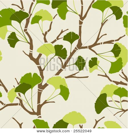 seamless pattern with green ginkgo leaves