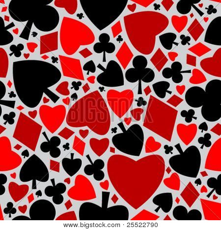 Playing cards symbols seamless pattern