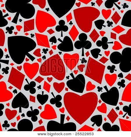 Playing cards symbols seamless pattern (raster version)