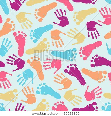 Hand and footprint seamless pattern (raster version)