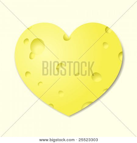 Heart from cheese. A vector illustration.