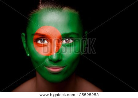woman with the flag of the Bangladesh