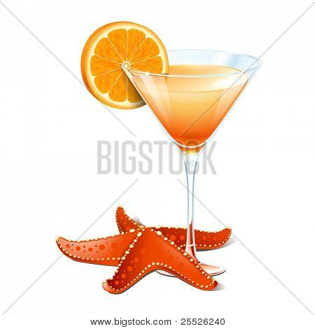 Orange cocktail in a glass and a starfish isolated on a white background