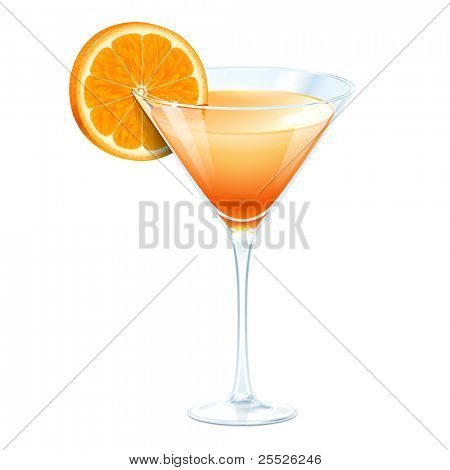 Orange cocktail in a glass for martini on a white background
