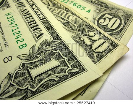 Us dollars closeup shot over white background