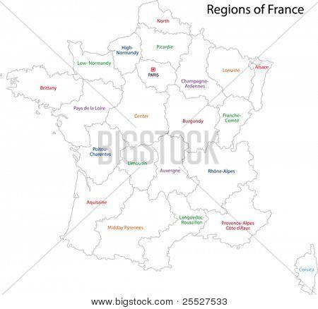 Mapa de Francia de contorno con regiones