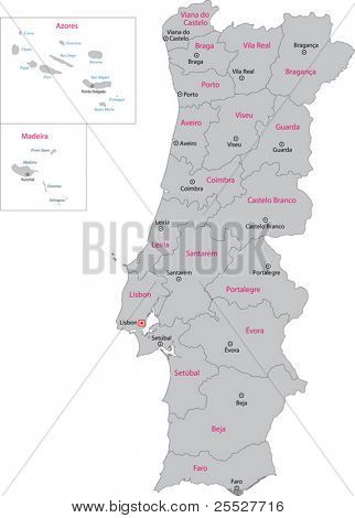 Gray Portugal map with regions and main cities