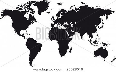 Black map of world with countries borders