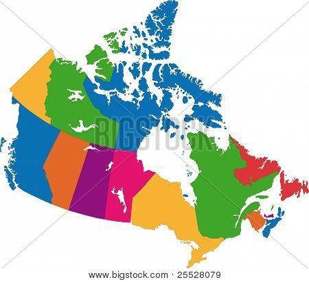 colorful Canada map with province borders
