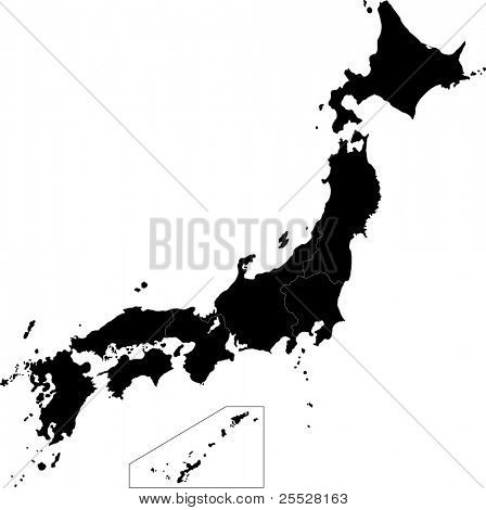 Black Japan map with province borders