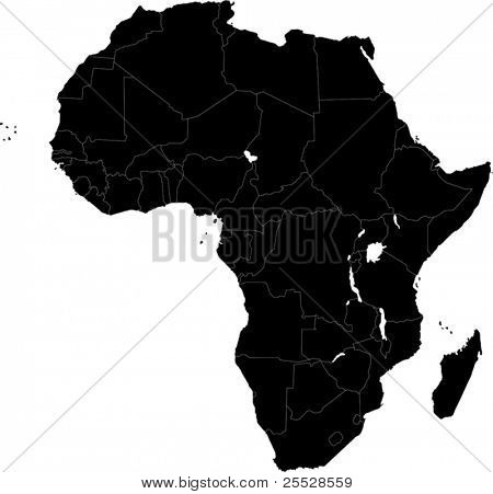 Africa continent designed in illustration with the countries
