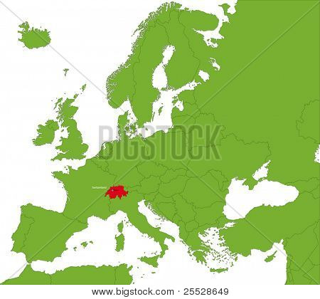 Location of Switzerland on the Europa continent