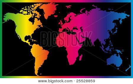 World map painted in seven primary colors on black