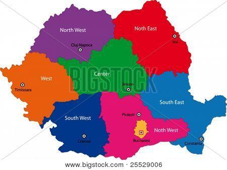Karte der Stadtbezirke von Rumänien