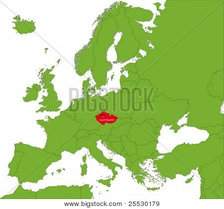 Location of Czech Republic on the Europa continent