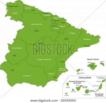 Green Spain map with regions
