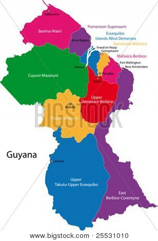 Map of the Co-operative Republic of Guyana with the regions colored in bright colors and the main cities.