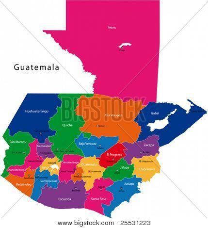 Mapa da República da Guatemala com os departamentos coloridas em cores brilhantes e as principais cidades