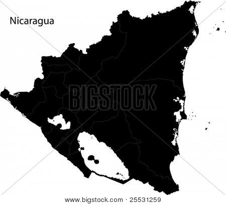 Black Nicaragua map with department borders
