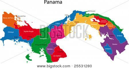 Map of the Republic of Panama with the provinces colored in bright colors and the main cities