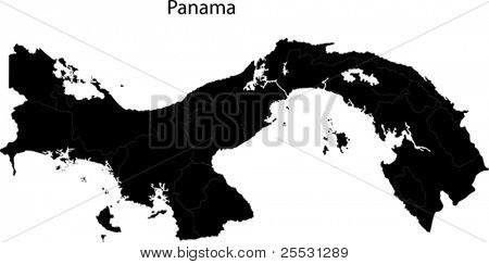 Black Panama map with province borders