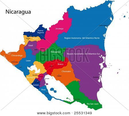 Map of the Republic of Nicaragua with the departments colored in bright colors and the main cities