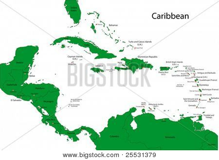 Map of Caribbean with countries and capital cities