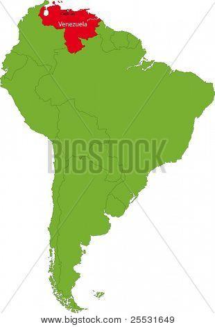 Localização da Venezuela sobre o continente da América do Sul