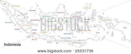 Der Umriß Indonesien mit Provinzen