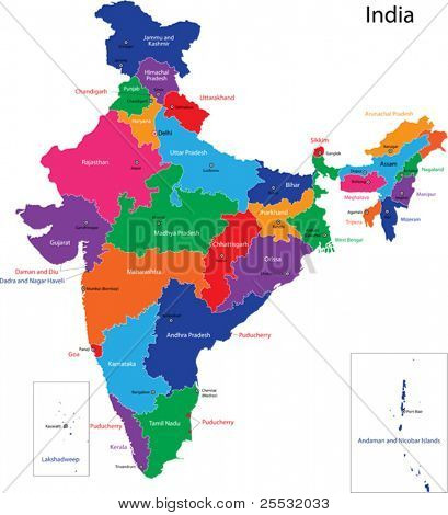 Mapa de la República de la India con los Estados de color en colores brillantes