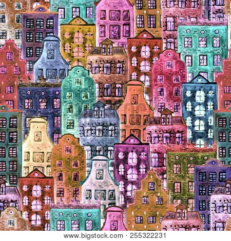 Old Europe Houses Seamless Pattern