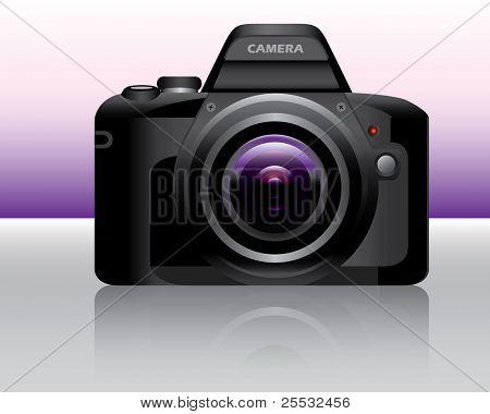 Cámara réflex digital púrpura