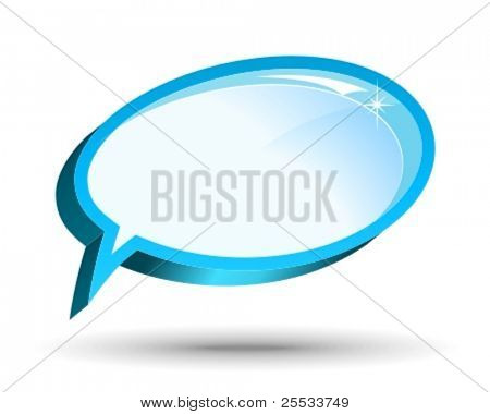 One vector glossy chat box in blue color.